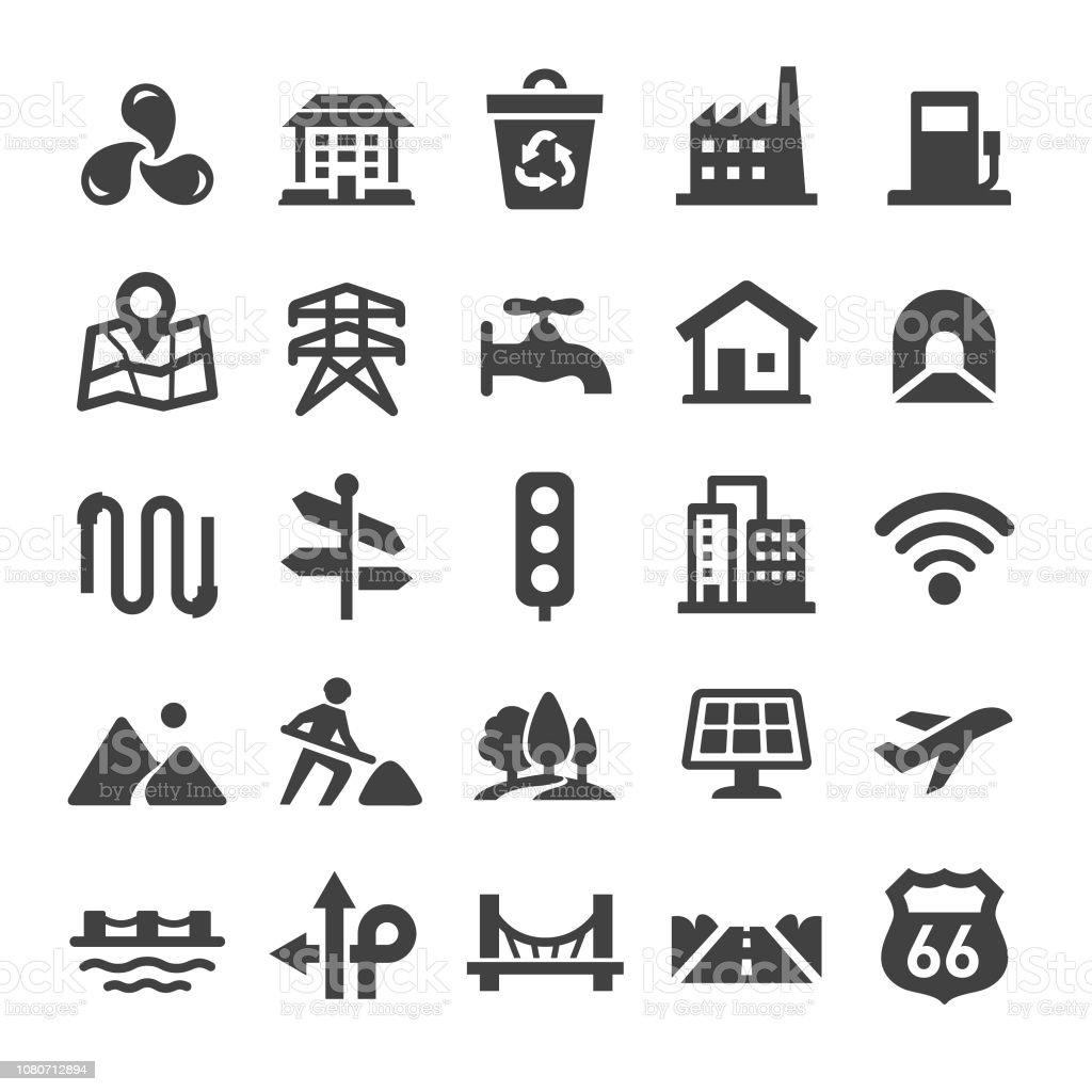 City Construction Icons Set - Smart Series vector art illustration