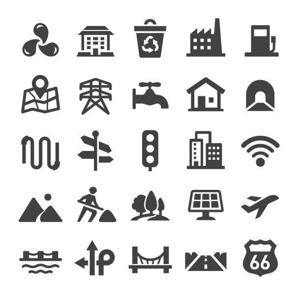 ilustrações de stock, clip art, desenhos animados e ícones de city construction icons set - smart series - smart city