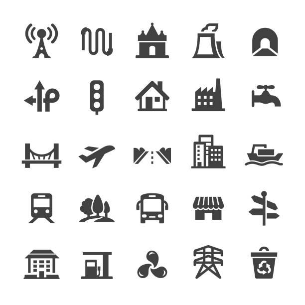 ilustrações de stock, clip art, desenhos animados e ícones de city construction icons - smart series - smart city