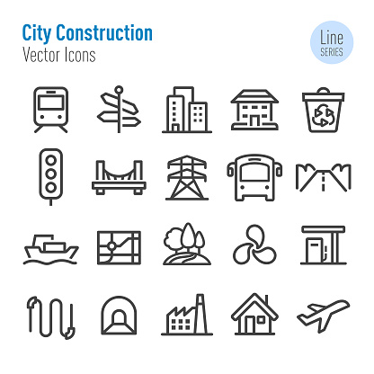 City Construction Icons - Vector Line Series