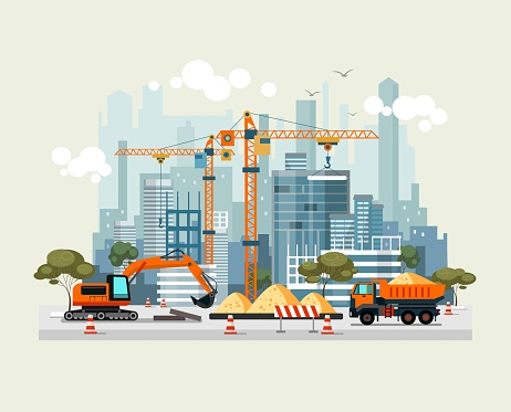 City construction work process with machines