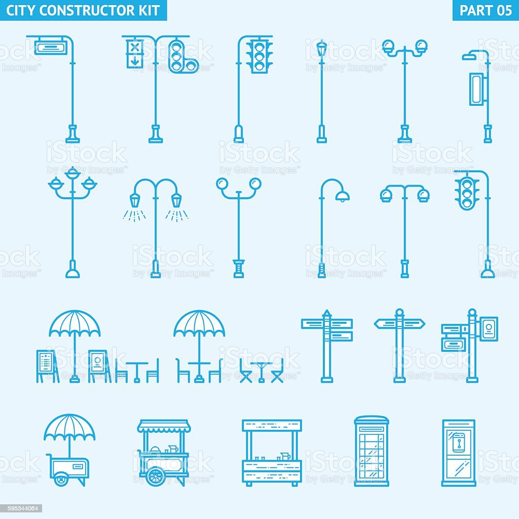 City Constructor Kit - street objects vector art illustration