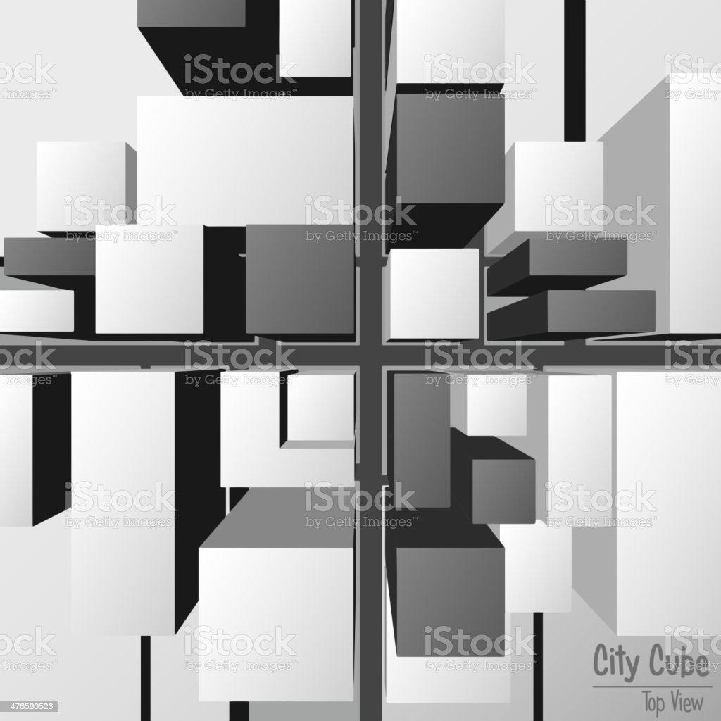 City Cube Top View vector art illustration