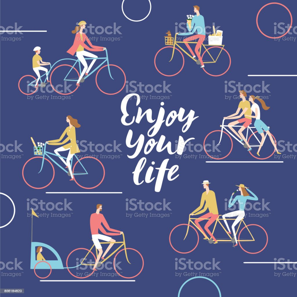 City cyclists poster vector art illustration