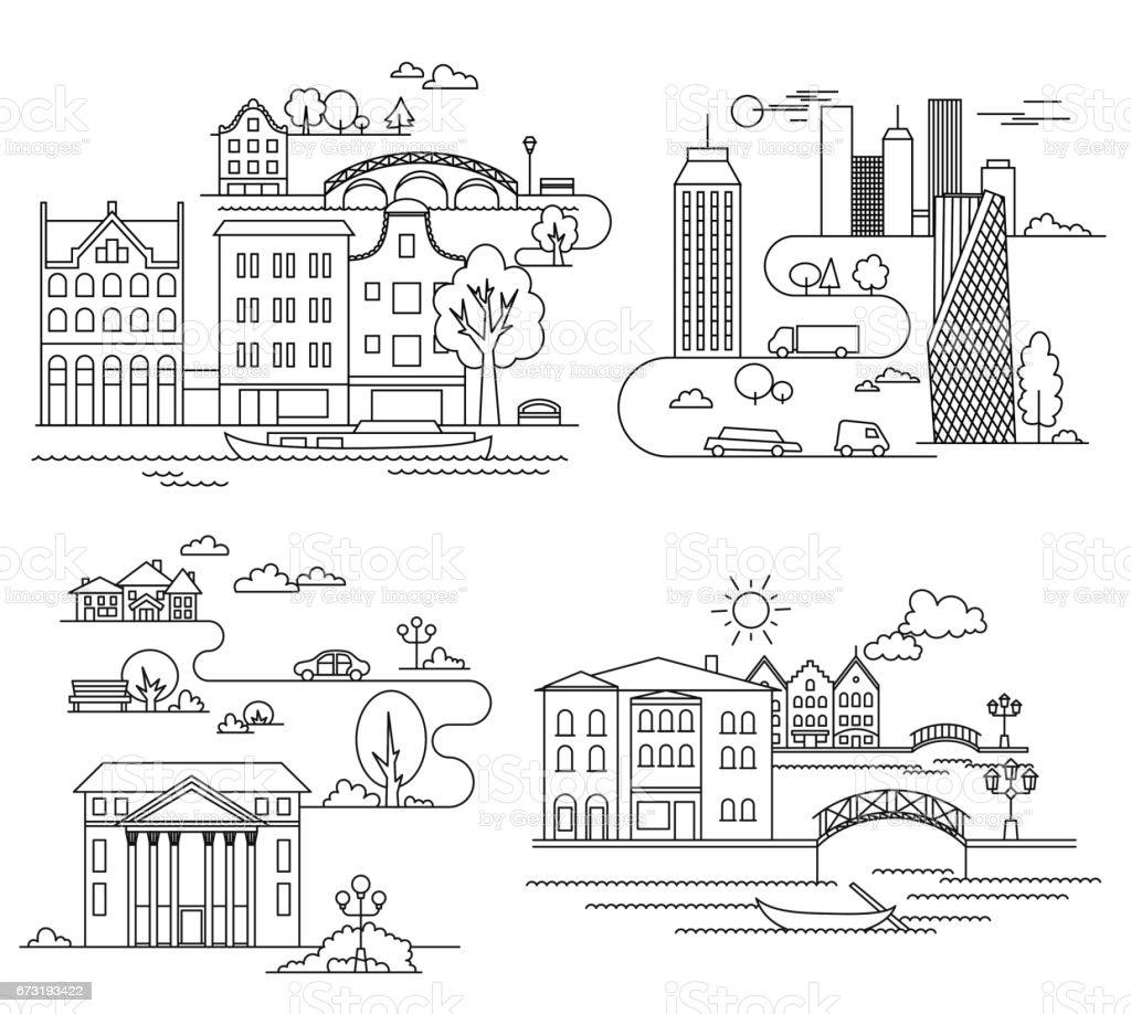 City design elements. Linear style. Vector illustration vector art illustration