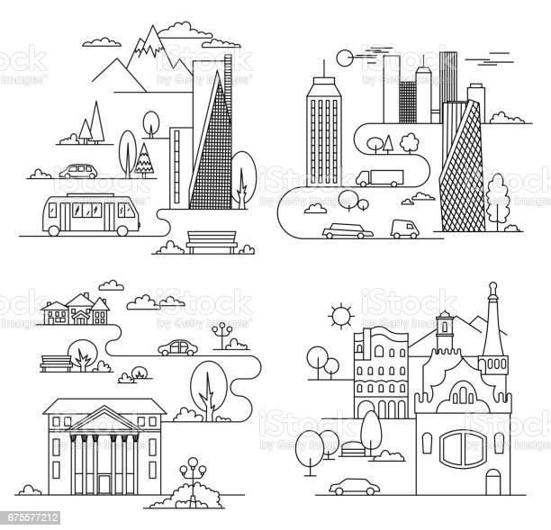 City design elements linear style vector illustration vector id675577212?b=1&k=6&m=675577212&s=612x612&h=b o2c63d2rlomp08glvam6n8msib0yselogh rxdgm8=