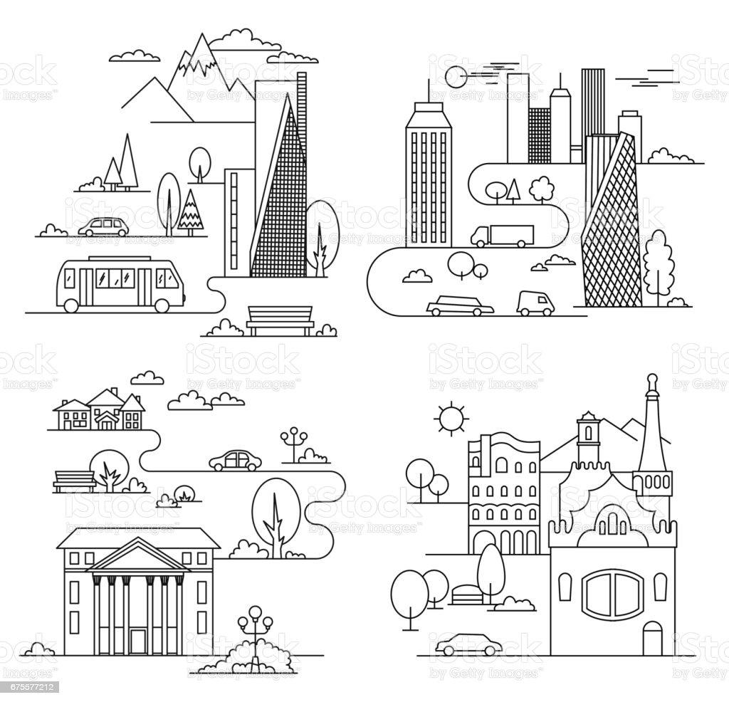 Elementos de design da cidade. Estilo linear. Ilustração vetorial - ilustração de arte em vetor