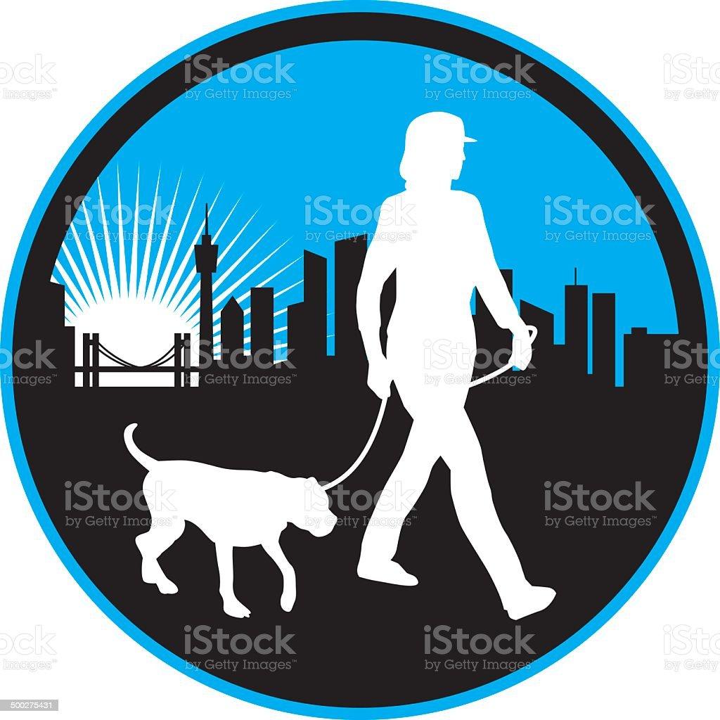 City Dog Walk vector art illustration