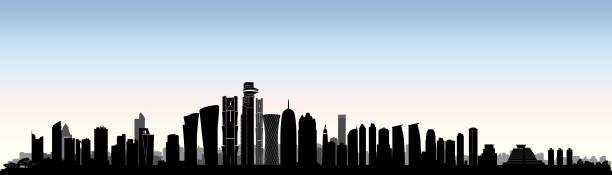 illustrations, cliparts, dessins animés et icônes de skyline de la ville de doha. paysage urbain arabe. bâtiment de gratte-ciel de qatar - doha