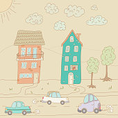 Traffic on a tranquil street. EPS10 vector illustration, global colors, easy to modify.
