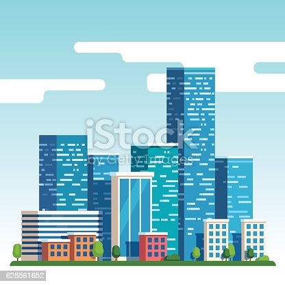 istock City downtown landscape with high skyscrapers 628561652