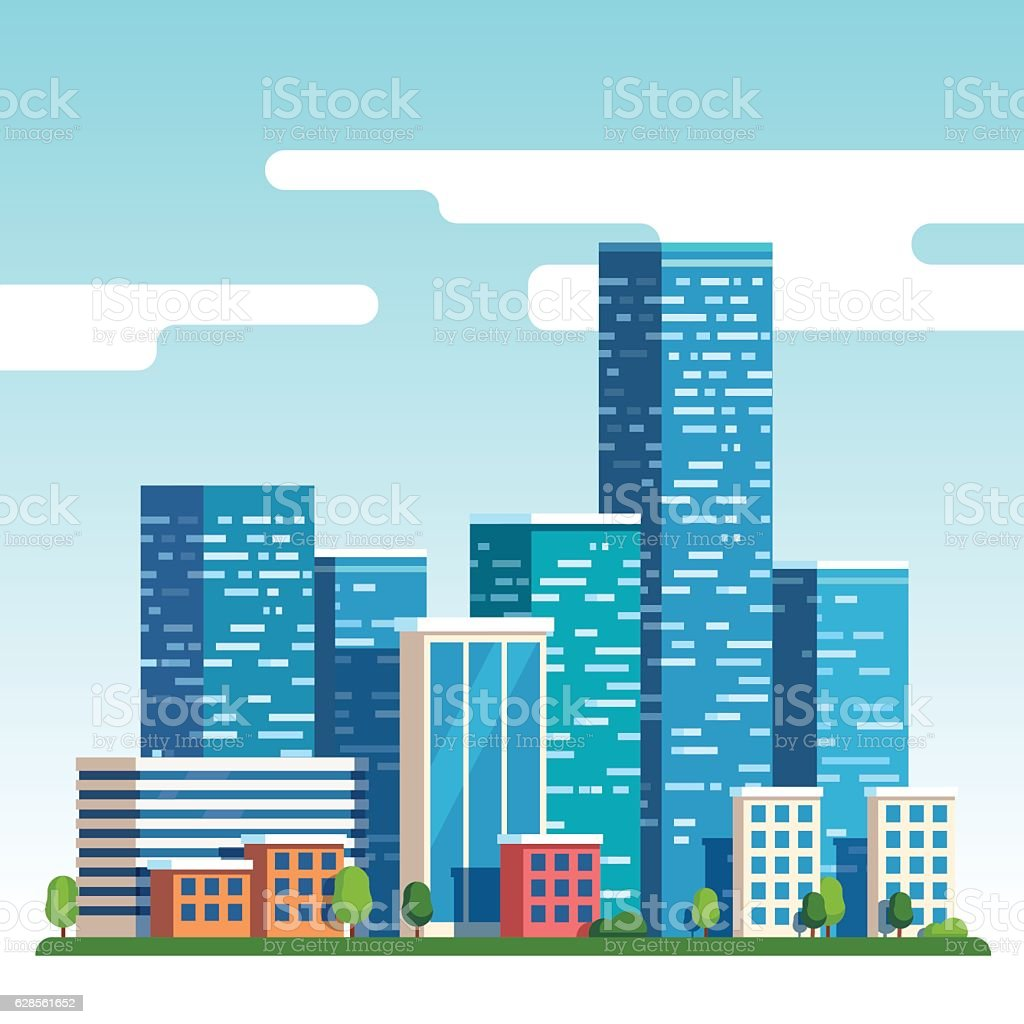 City downtown landscape with high skyscrapers vector art illustration