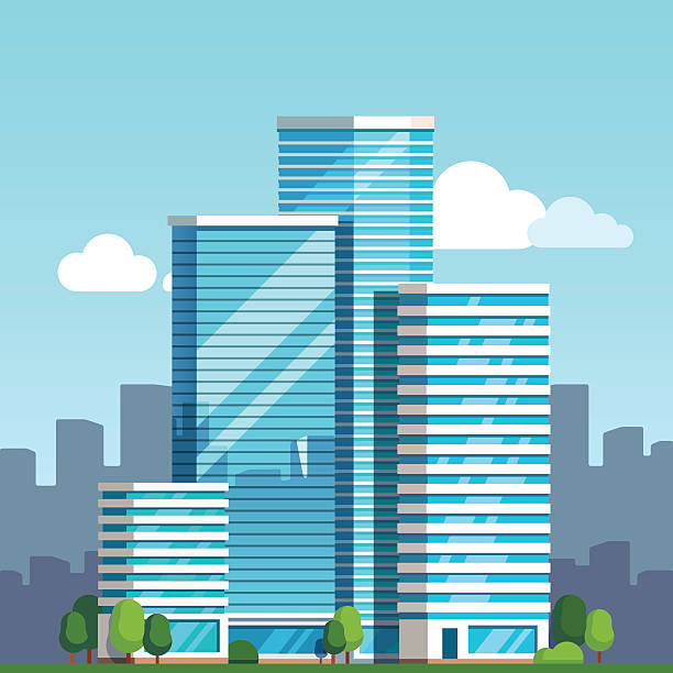 city downtown landscape with skyscrapers - architecture clipart stock illustrations