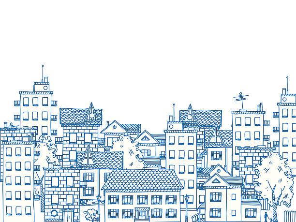 City Drawing vektorkonstillustration