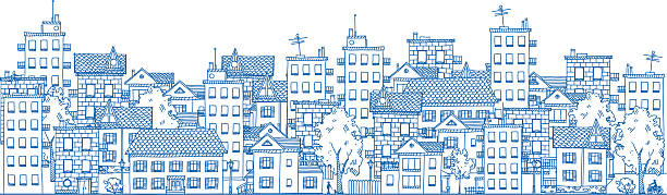 City Drawing Line drawing of a city with many apartment buildings and private houses. community drawings stock illustrations