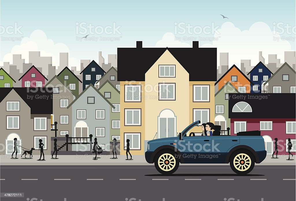 City driving vector art illustration