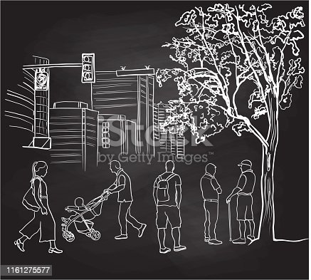 Various city folks walking between the park and their congested apartments, chalkboard illustration