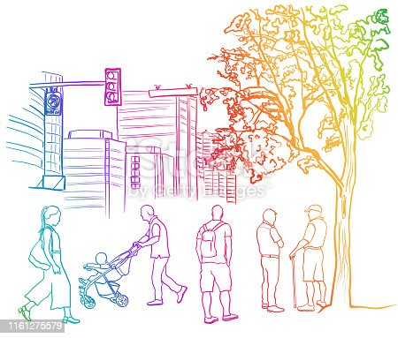 Various city folks walking between the park and their congested apartments, rainbow coloured illustration