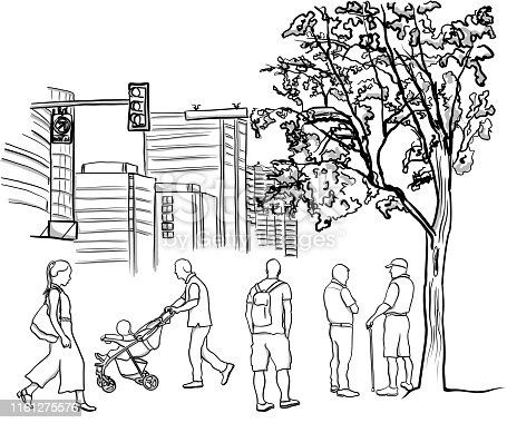 Various city folks walking between the park and their congested apartments, vector illustration