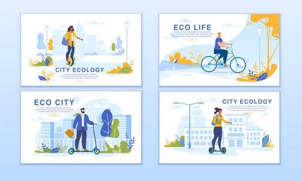 illustrazioni stock, clip art, cartoni animati e icone di tendenza di city dwellers riding eco transport banner set - monopattino elettrico