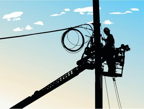 ilustrações, clipart, desenhos animados e ícones de city electricity - eletricista