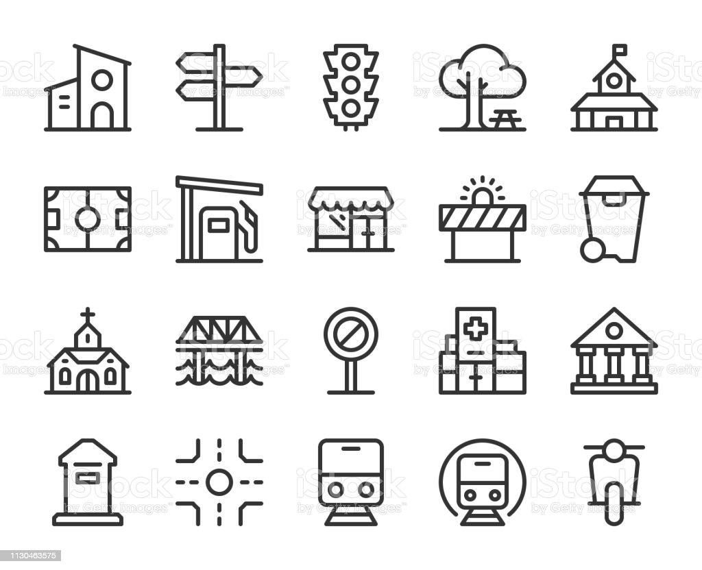 City Element - Line Icons vector art illustration