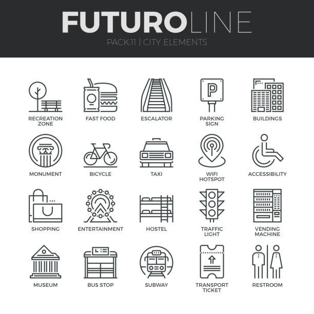 illustrations, cliparts, dessins animés et icônes de ville des éléments ligne futuro icons set - gare
