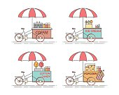 City elements of coffee, popcorn, ice cream, cotton candy bicycles. Cart on wheels. Food and drink kiosk .