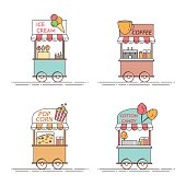 City elements of coffee, popcorn, ice cream, cotton candy trucks. Cart on wheels. Food and drink kiosk . Vector illustration. Flat line art. Elements for building, housing, real estate market