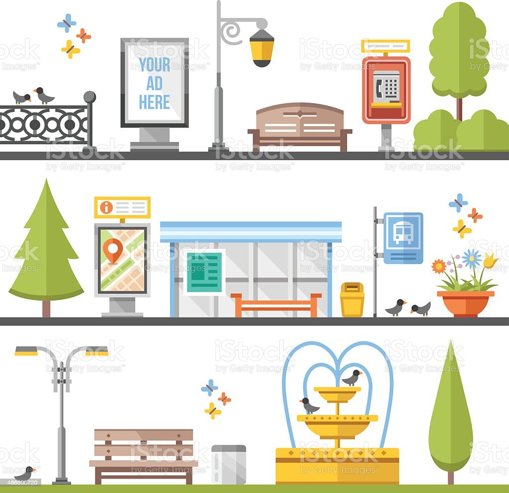 City elements, outdoor elements and city scenes flat illustrations set vector art illustration
