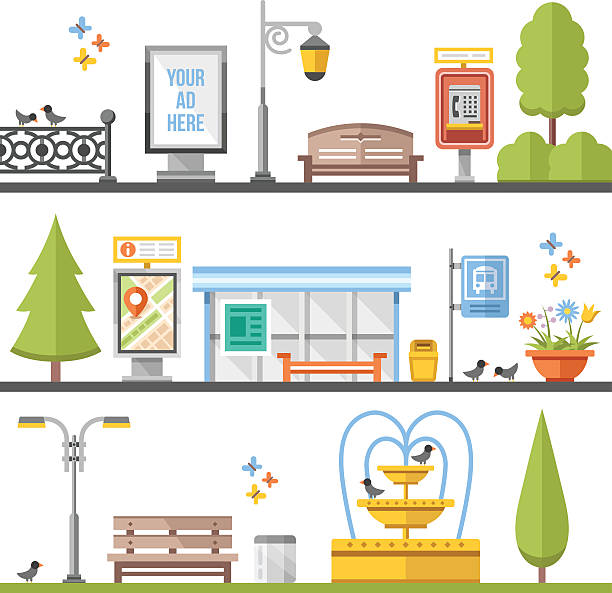 stockillustraties, clipart, cartoons en iconen met city elements, outdoor elements and city scenes flat illustrations set - bushalte