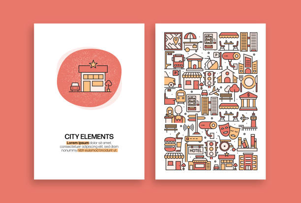 City Elements Related Design. Modern Vector Templates for Brochure, Cover, Flyer and Annual Report. City Elements Related Design. Modern Vector Templates for Brochure, Cover, Flyer and Annual Report. airport patterns stock illustrations