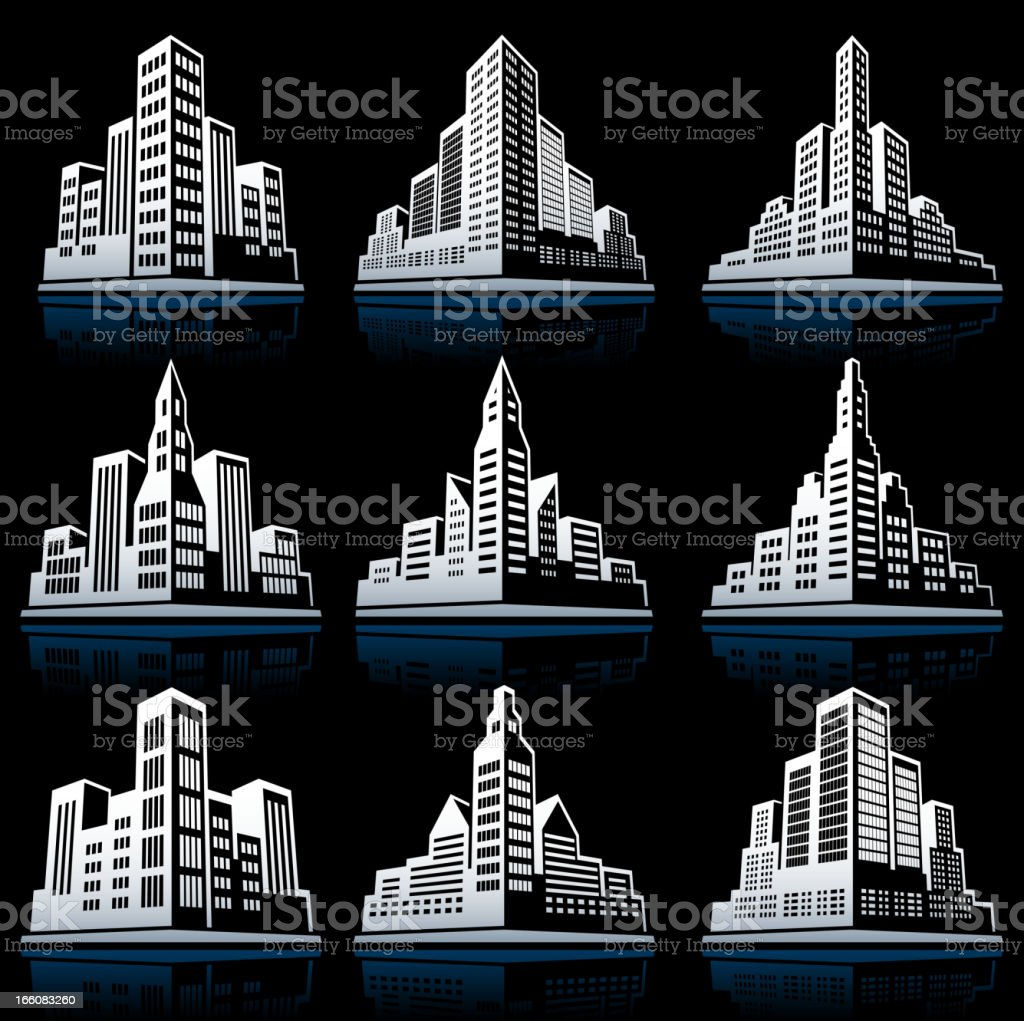 3D City Emblem black & white vector icon set vector art illustration