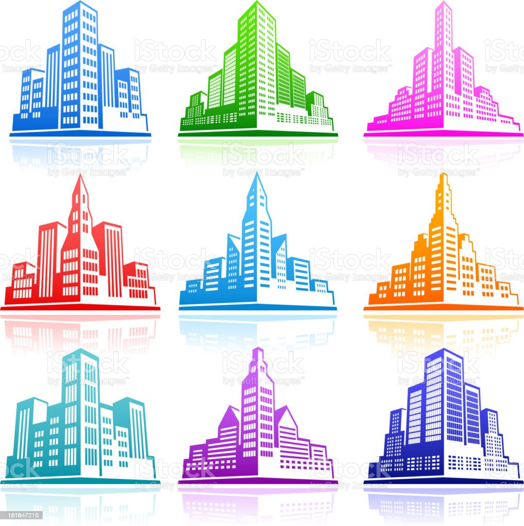 City Emblem color royalty free vector icon set royalty-free stock vector art
