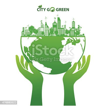 City energy conserve with green earth and forest abstract