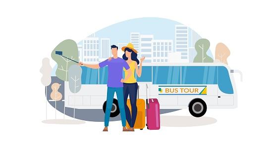 City Excursion with Bus Tour Flat Vector Concept