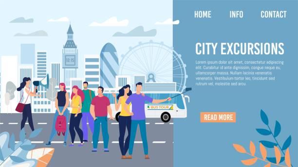 city ausflüge in europa voyage vector webseite - tour bus stock-grafiken, -clipart, -cartoons und -symbole
