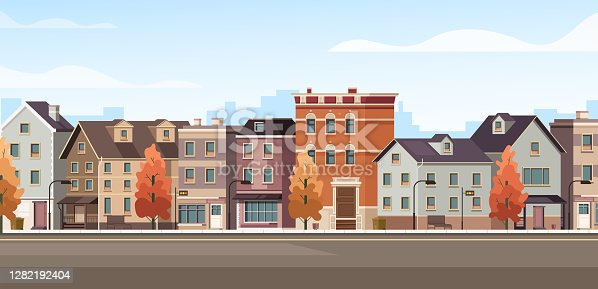 istock City facade buildings town street panorama concept. Vector flat graphic design cartoon illustration 1282192404