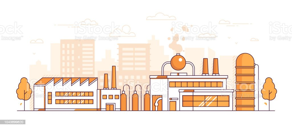 Fabrique de la cité - illustration vectorielle de ligne mince moderne design style - Illustration vectorielle