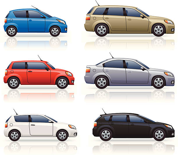 City & Family Cars Generically styled, modern passenger car icons. Includes small city cars, small and large hatchbacks and an estate style car. hatchback stock illustrations