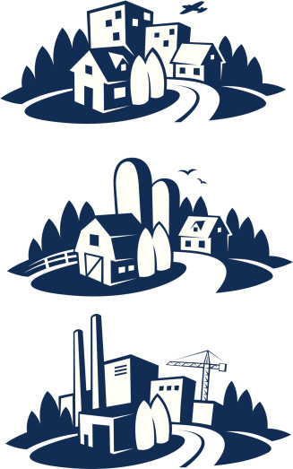 city, farm and industry icons