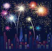 Gradients were used to create this brightly colored scene of fireworks as they light up the sky over a city skyline.  Extra large JPG, thumbnail JPG, and Illustrator 8 compatible EPS are included in zip.
