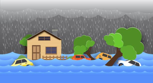 illustrations, cliparts, dessins animés et icônes de inondations urbaines, catastrophes naturelles, art du papier style 1. eps - desastre natural