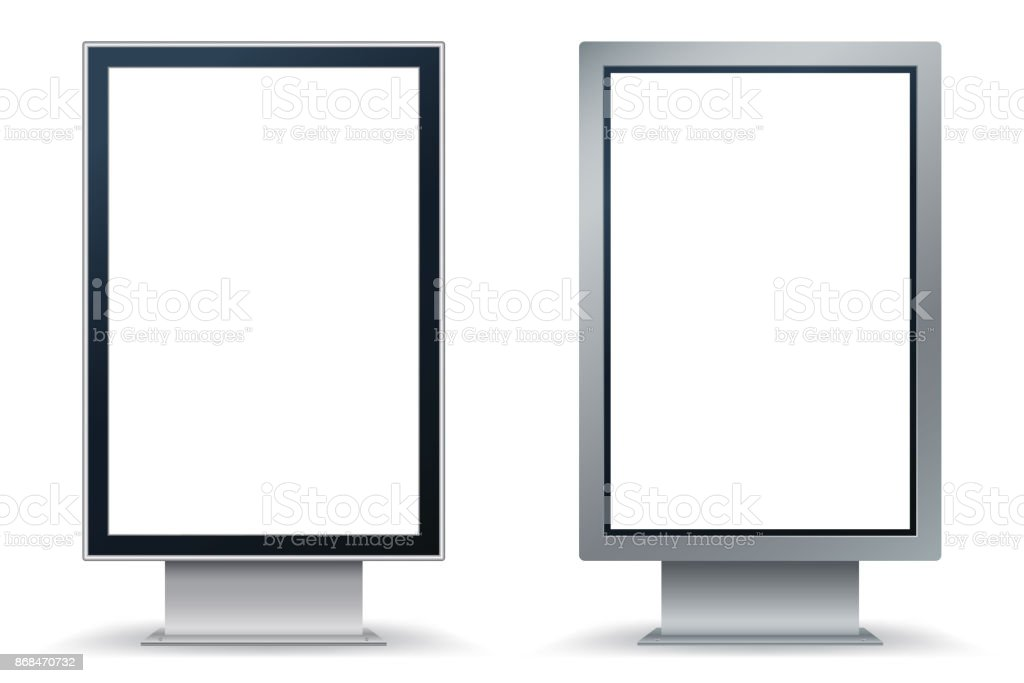 City Format mock up isolated on white background. City Lightbox with black and silver frame. Vertical blank billboard for demonstration of design. Easy editable template. Vector illustration. Eps 10 vector art illustration