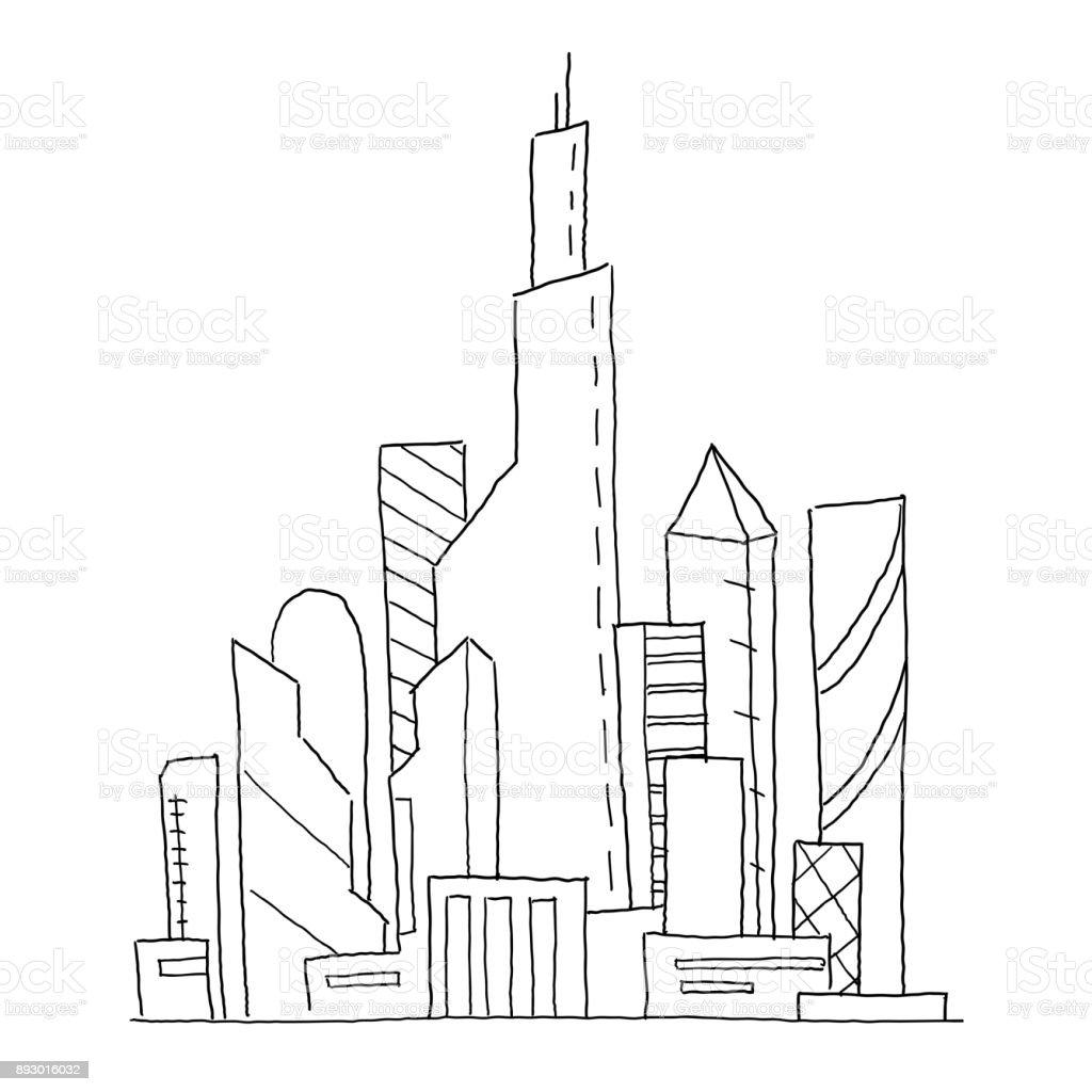 Zukunftige Stadt Handgezeichnete Skizze Vektorgrafik Gebaude Hochhaus Architektur Landschaft Sehr