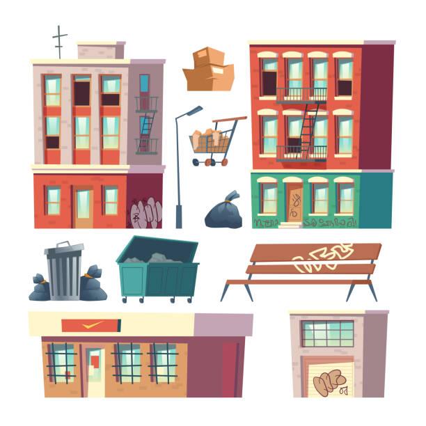 Stadt Ghetto Architektur Elemente Cartoon Vektor – Vektorgrafik