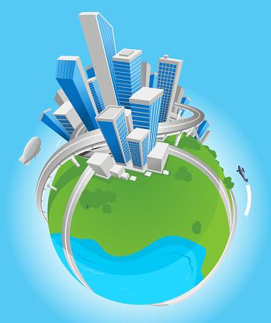 City globe vector illustration.