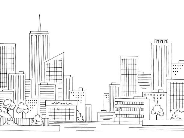 stadtgrafik schwarz-weiß-zitathaus-skyline-skizze illustration vektor - turm bauwerk stock-grafiken, -clipart, -cartoons und -symbole
