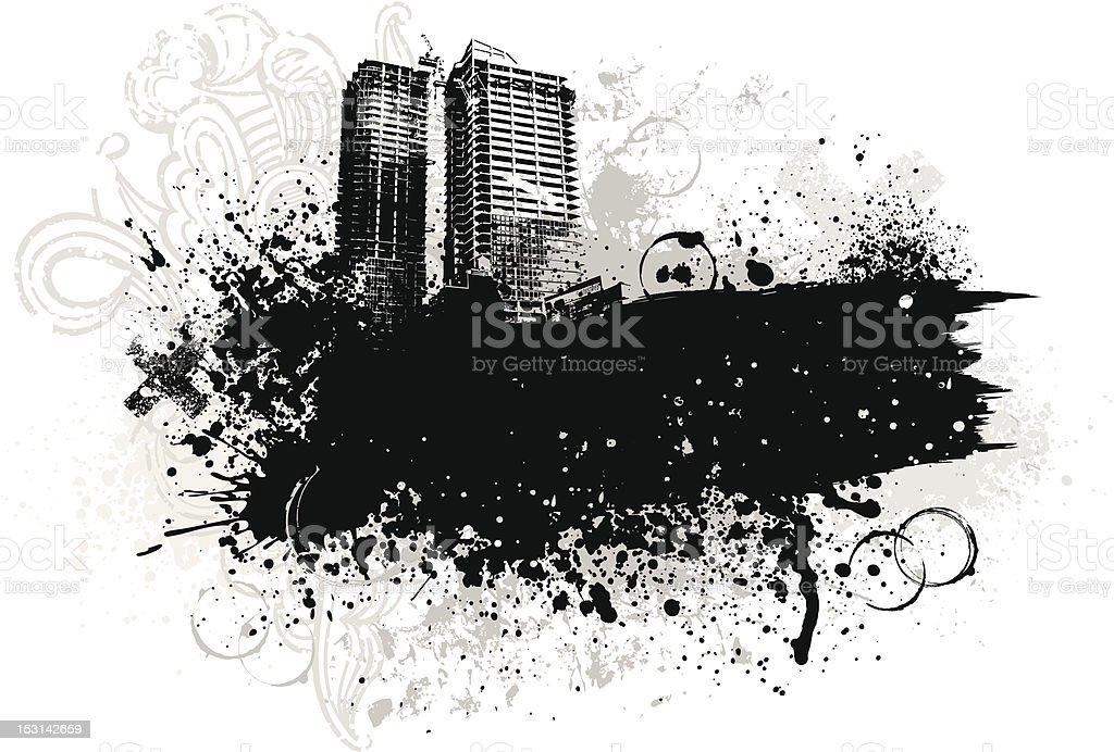 City grunge background royalty-free stock vector art