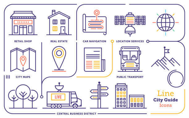 city guide activity line icon set - retail worker stock illustrations